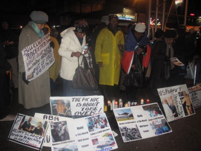 In the freezing NY cold- January 12, 2015 Haiti protest in front of Bill Clinton's Harlem Office. No to dictatorship, down with UN, down with the US puppet Martelly government * Photo Credit: Dahoud Andre