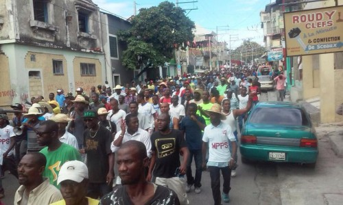 Haiti Protest Against Martelly, UN and US occupation, Jan 11, 2015 * NO to Dictatorship - Desalin's descendants say US puppet president, Michel Martelly, will not rule by decree