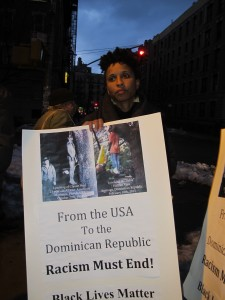 """""""We are all Dominicans"""" Vigil for Claude """"Tulile"""" Jean Harry, in front of Dominican-American elected leader, Councilman Ydanis Rodriquez's office in Washington Heights, New York. Demanding justice for Tulile. February 12, 2015. Photo credits: Dahoud Andre"""