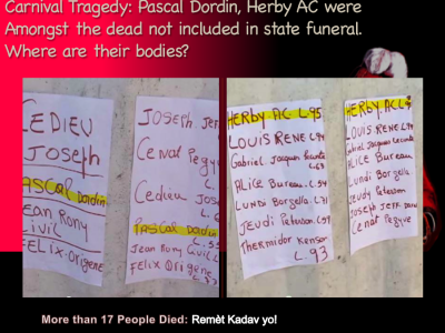 Gov. officials say 17 died in Carnival Tragedy, 2015. Pascal Dordin, Herby AC are noted as dead victims by wall hospital list. Where are the bodies /Source: Video (Extracted from video by Mike Perrett)