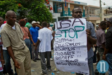 USA, STOP supporting: Drug-dealers, Kidnappers, Robbers, Bribers Against Haitian People!!! Photo credit: Nouvelliste