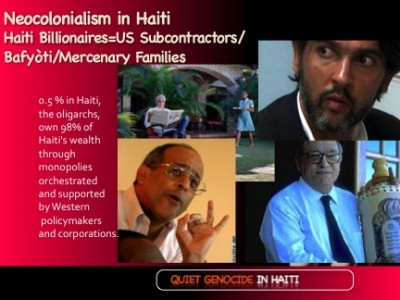 Haiti Oligarchy-  .05% own 98% of Haiti wealth. The Haitian subcontractors for empire