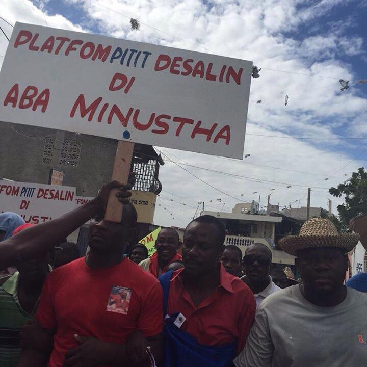 Haiti Protest Against Martelly, UN and US occupation, Jan 11, 2015 * Platfòm Pitit Desalin di ABA MINUSTAH - Desalin's descendants say Down with the UN/MINUSTAH