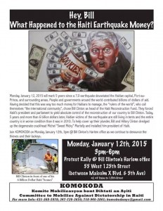 "Jan 12, 2015 Haiti Protest in Front of Bill Clinton's Harlem Offices: ""Hey Bill, Happened to the Money?"""