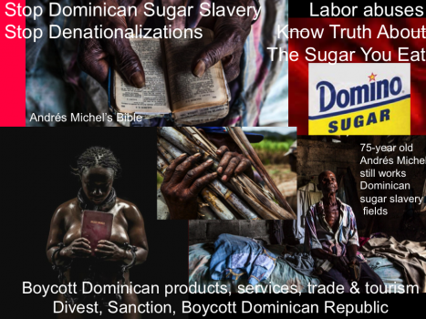Andrés Michel_Boycott Domino Sugar. The DR is spending millions so you'd let Michel die like this. Andrés Michel, 75, lost an eye cultivating cane meant for the sugar company Central Romana. Michel still works the fields, but for a different company. Source: Blood, sweat and sugar: Trade deal fails Haitian workers on DR plantations by Amy Bracken, Aljazeera