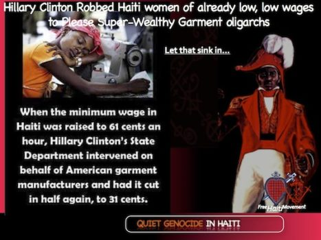 Hillary Wage Slavery in Haiti Exploits Impoverished Black Women